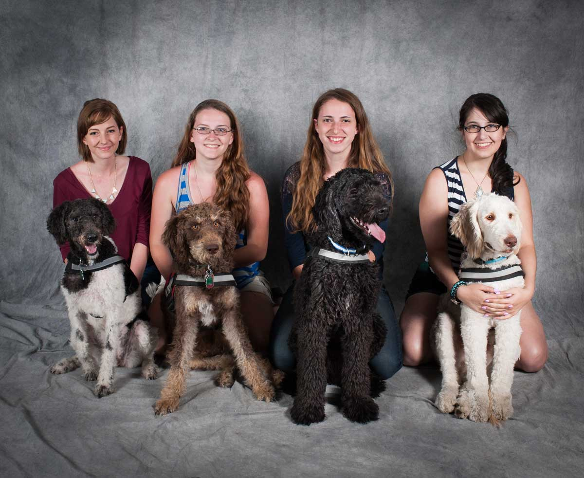 Fosters and interns with thier service dogs in training.